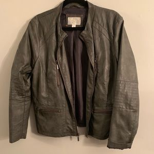 artificial leather grey jacket from Target